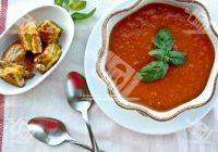 سوپ گوجه گریل شده و ریحان
