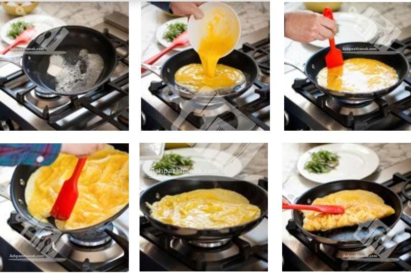 آشپزی-طرز تهیه املت-طرز تهیه آموزش تصویری املت فرانسوی-آشپزخانک-عکس