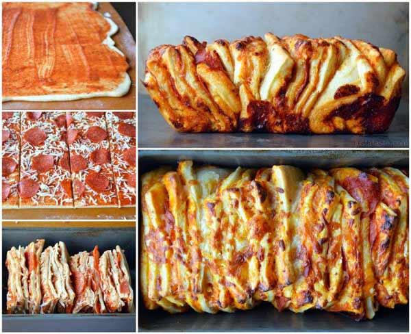 آشپزی-طرز تهیه پیتزا-فست فود-طرز تهیه تصویری پیتزا تکه ای-آشپزخانک-عکس