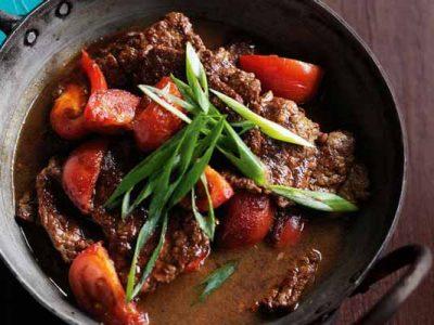 خوراک گوشت با سس سویا