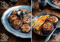 رول گوشت پر شده با سبزیجات و سس بالزامیک