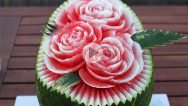 مدرسه آشپزی آشپزخانک-چگونه بر روی هندوانه گل درست کنیم؟