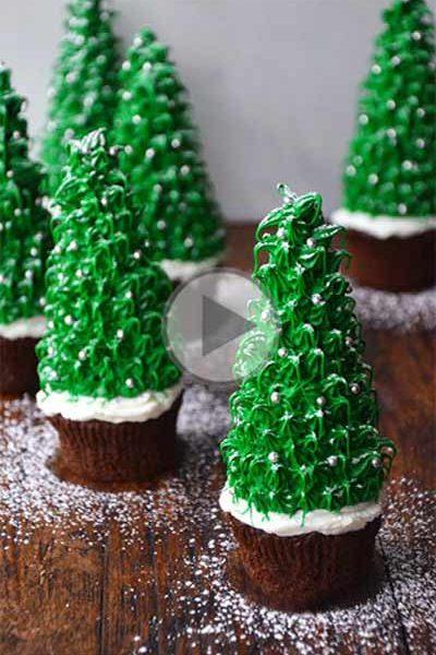 مدرسه آشپزی آشپزخانک-چگونه کاپ کیک را به شکل درخت کریسمس تزیین کنیم؟