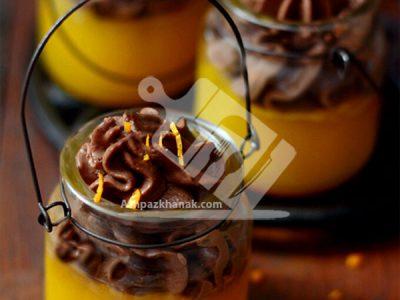 ژله پرتقال با موس شیر شکلاتی
