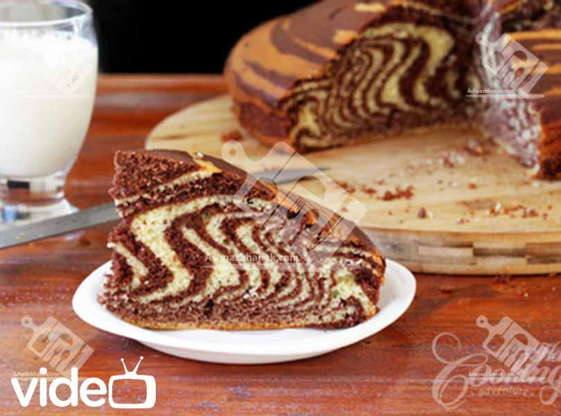 کیک-آشپزی-طرز تهیه کیک زبرا (راه راه)-آشپزخانک-عکس