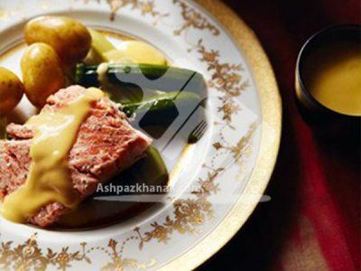 ماهی سالمون با سس کره ای و مایونز
