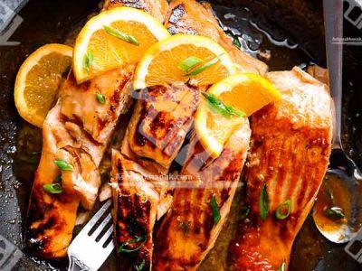 ماهی سالمون ترد با سس پرتقال