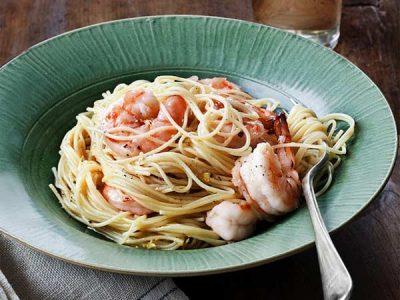 اسپاگتی لیمویی با میگو