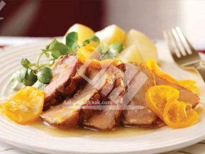 خوراک اردک با سس پرتقال