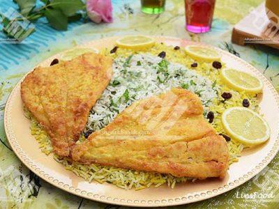 سبزی پلو با ماهی سفید