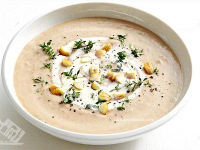 سوپ شاه بلوط و سیب زمینی