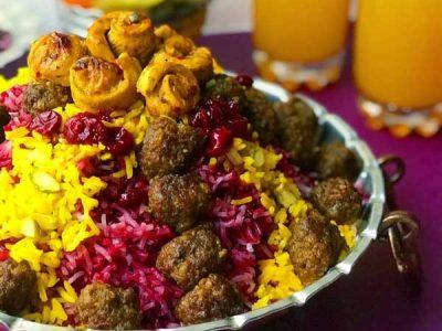 آلبالو پلو با گوشت قلقلی