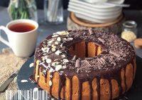 کیک کاسترد با گاناش شکلات تلخ